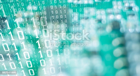 882141812istockphoto Computer algorithm data future numbers, cyber attack threat 882141866