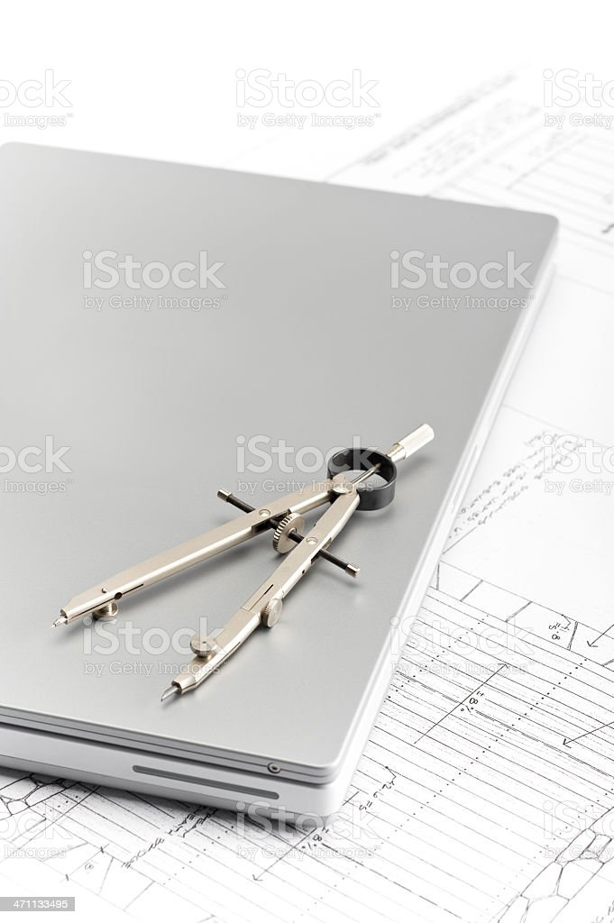 Computer and Compass royalty-free stock photo