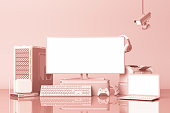 istock Computer and loptop white screen with many gadgets on teble in pastel pink tone. 3d rendering 1178172726