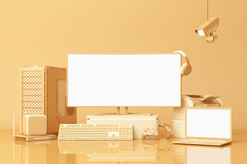 istock Computer and loptop white screen with many gadgets on teble in pastel yellow tone. 3d rendering 1178984282