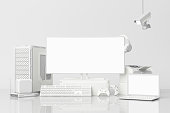 istock Computer and loptop white screen with many gadgets on teble in white tone. 3d rendering 1178984317