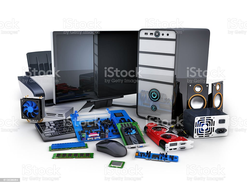 Computer and part stock photo