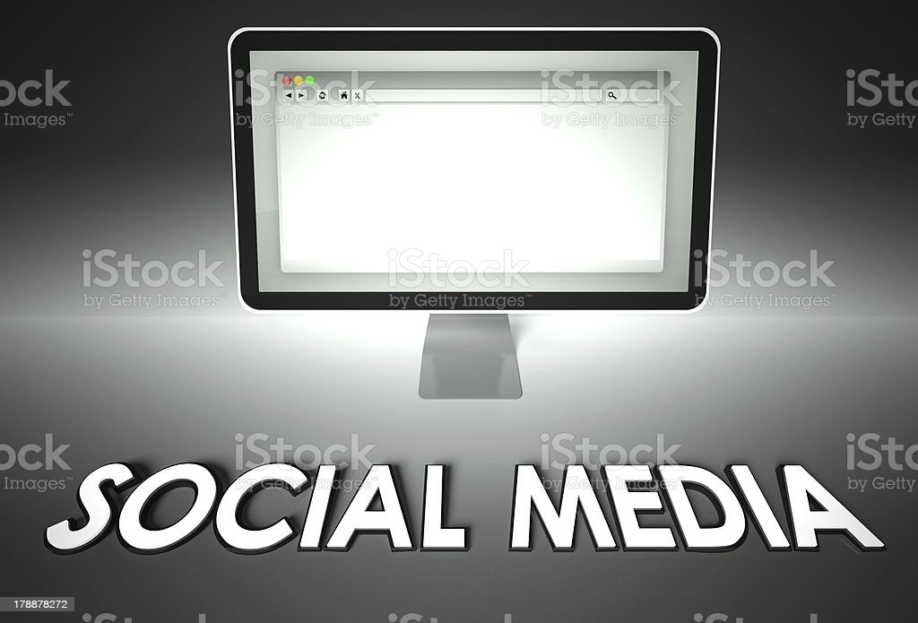 Computer and web browser with Social media, Network royalty-free stock photo