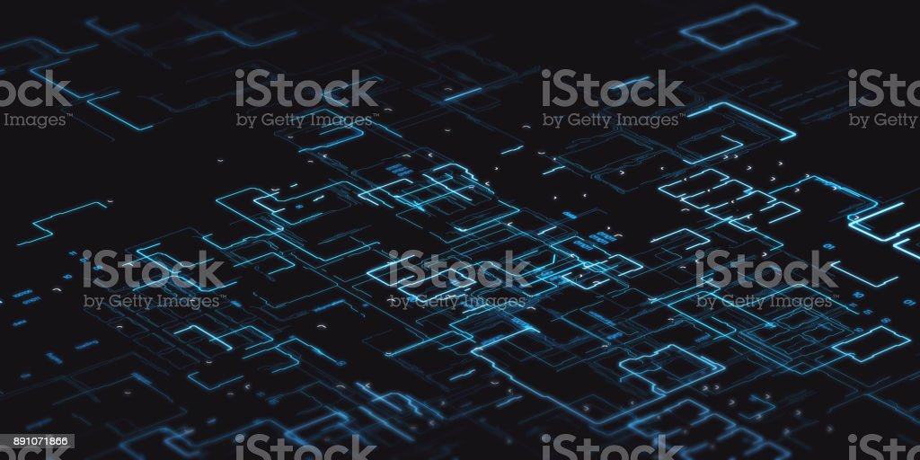 Computer binary code blue with depth of field on black background royalty-free stock photo
