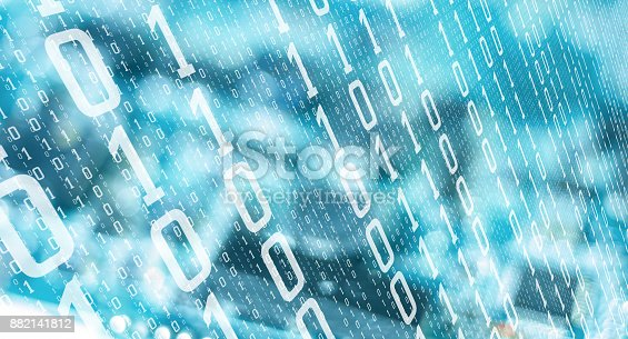 istock Computer binary digits abstract tech background 882141812