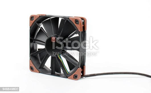 istock Computer black fan isolated on white background. Quiet cooling component of pc with anti-vabration pads. Hardware cooler. 946849802