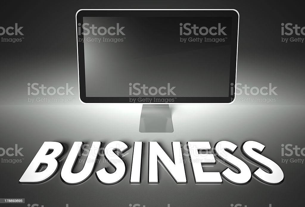 Computer blank screen with word Business royalty-free stock photo