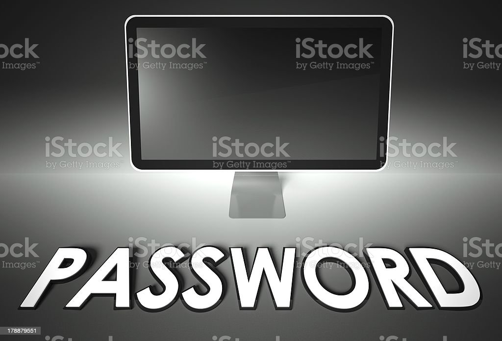 Computer blank screen with word Password royalty-free stock photo