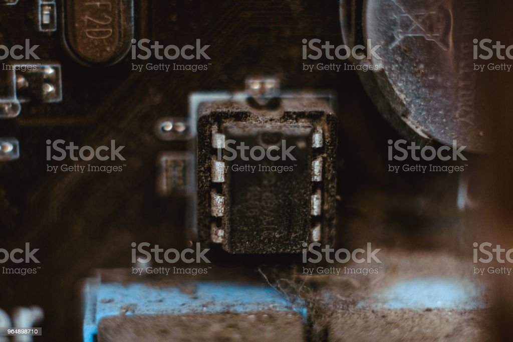 Computer board chip circuit cpu core blue technology - Royalty-free Art Stock Photo
