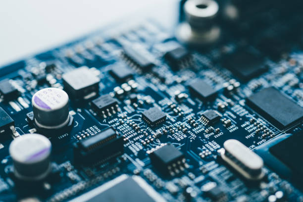 computer board hardware motherboard microelectronics server cpu chip semiconductor circuit core blue technology background or blue texture with processors concept electronic device - electronics industry stock pictures, royalty-free photos & images