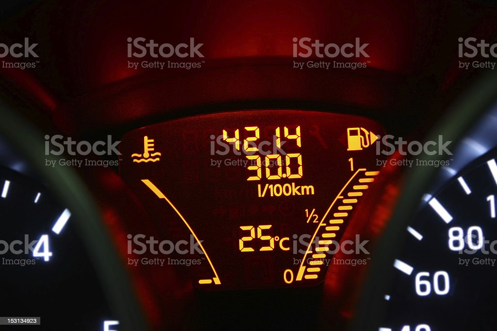 Computer board indicative of a large fuel consumption royalty-free stock photo