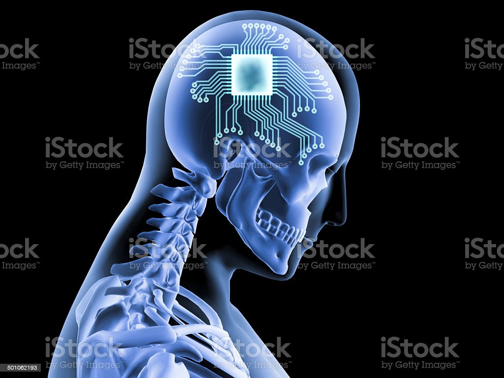 Computer brain stock photo