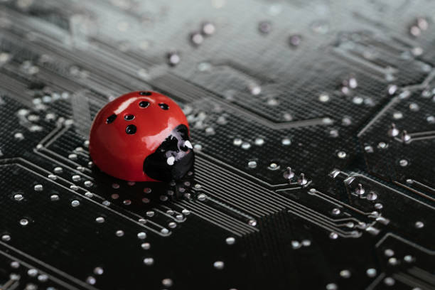 Computer bug, failure or error of software and hardware concept, miniature red ladybug on black computer motherboard PCB with soldering, programmer can debug to search for cause of error Computer bug, failure or error of software and hardware concept, miniature red ladybug on black computer motherboard PCB with soldering, programmer can debug to search for cause of error. computer bug stock pictures, royalty-free photos & images