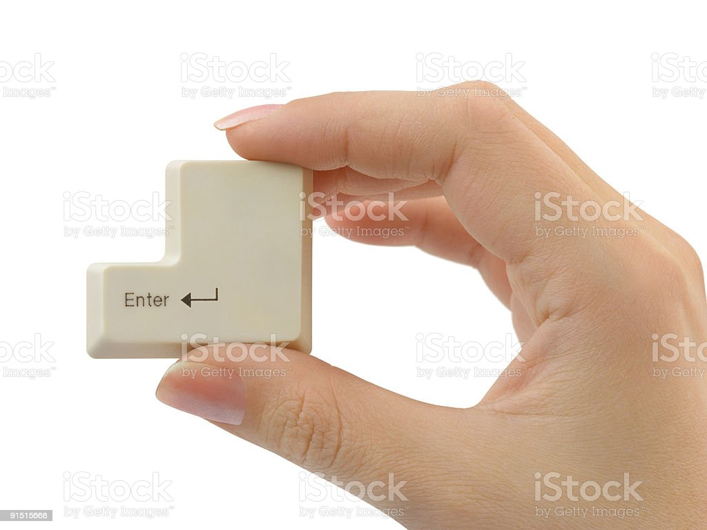 Computer button in hand royalty-free stock photo