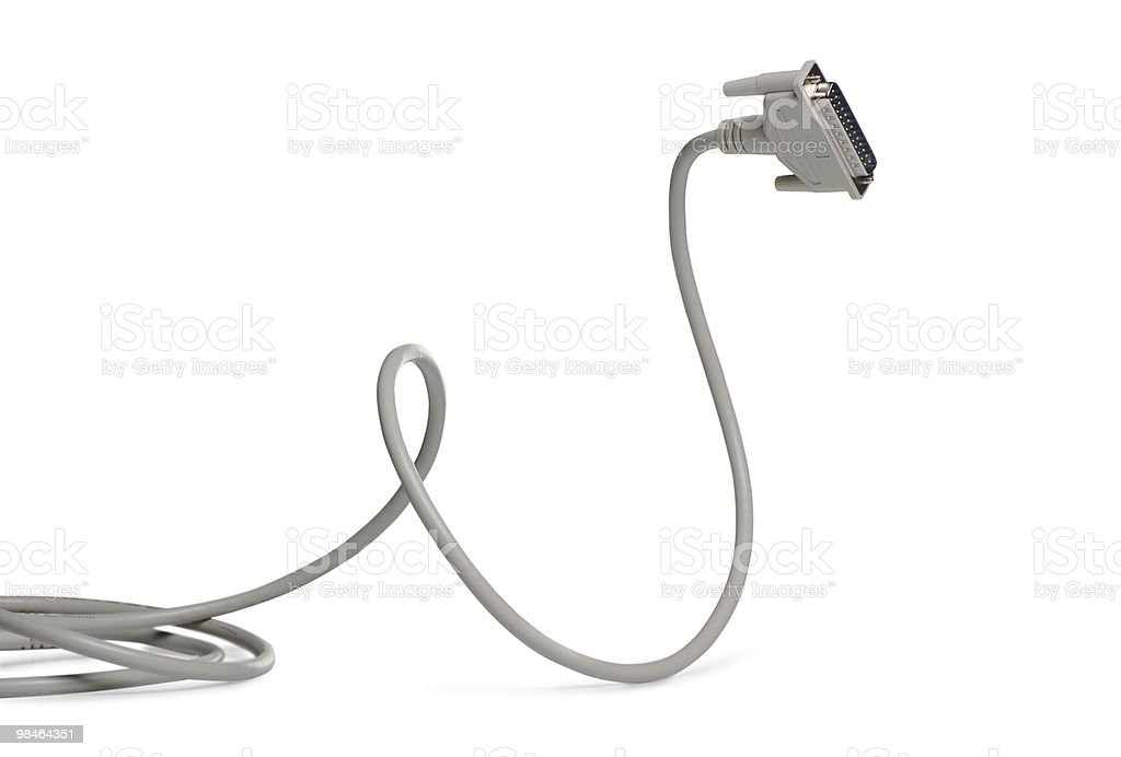 Computer cable LPT royalty-free stock photo