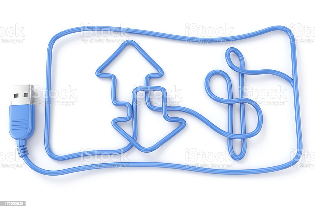 Computer cable money transfer concept royalty-free stock photo