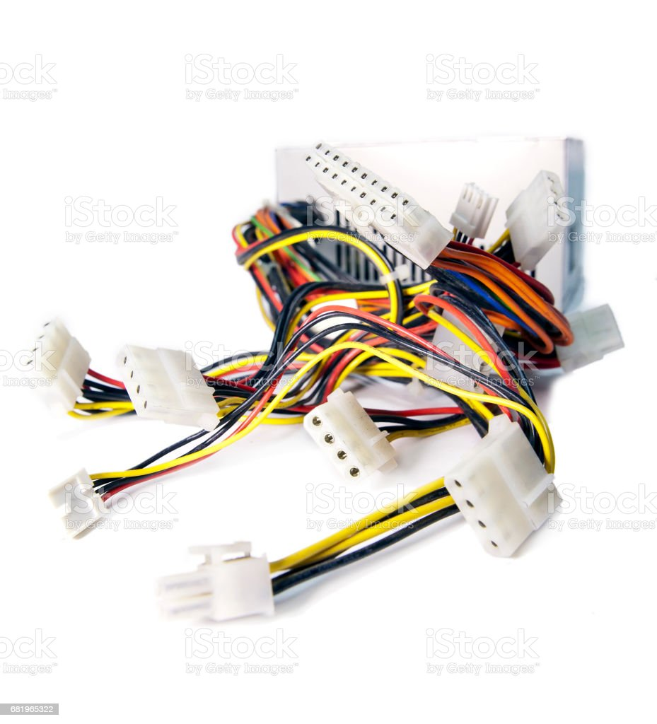 Computer cables with sockets stock photo