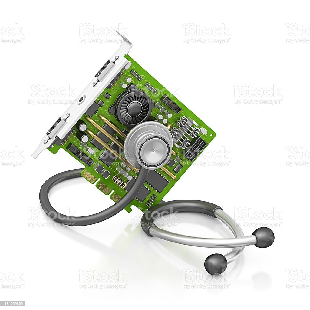computer card and stethoscope royalty-free stock photo