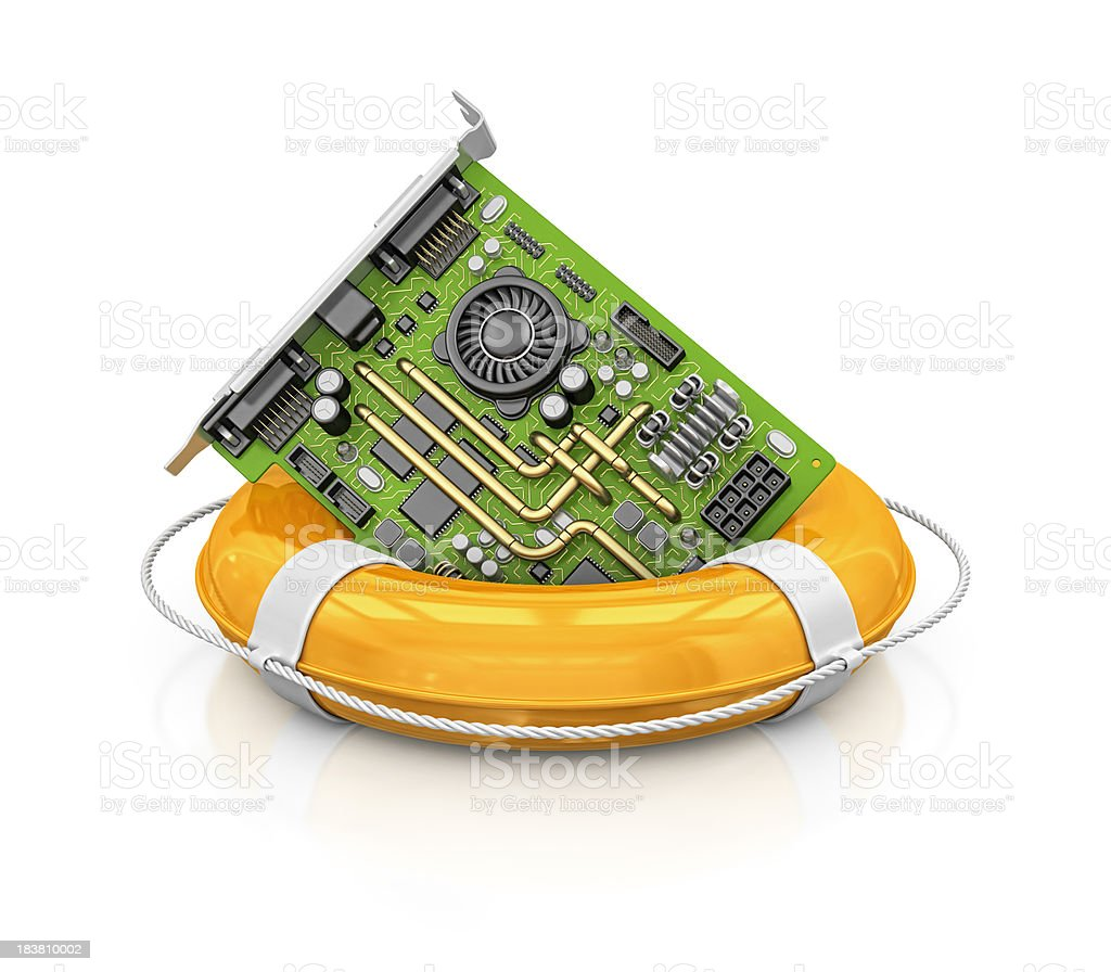 computer card in life belt royalty-free stock photo