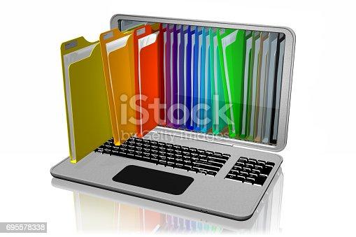 istock Computer Cartelle colorate Documenti 695578338