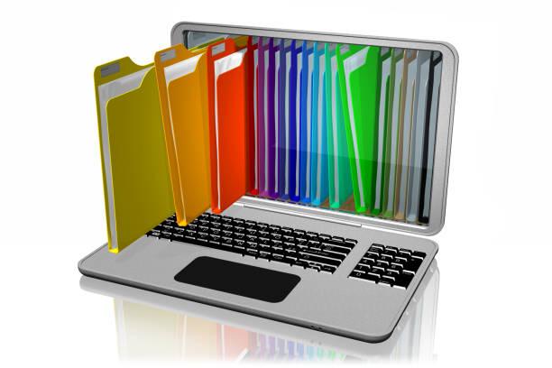 computer cartelle colorate documenti - organizzatore elettronico foto e immagini stock