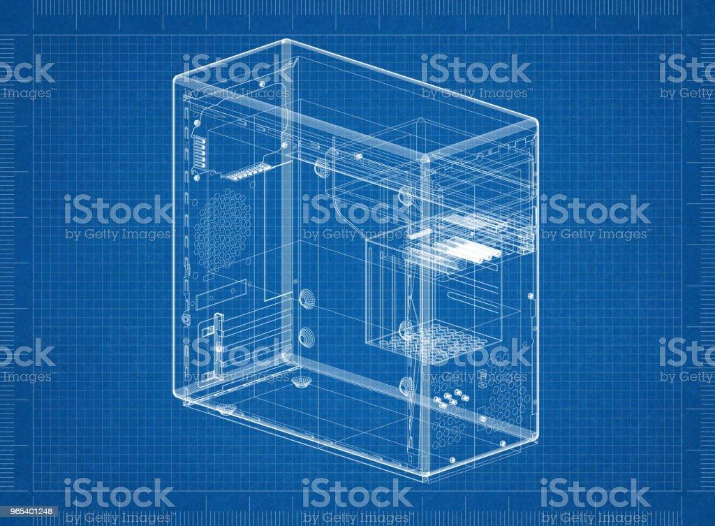 Computer case Architect blueprint zbiór zdjęć royalty-free