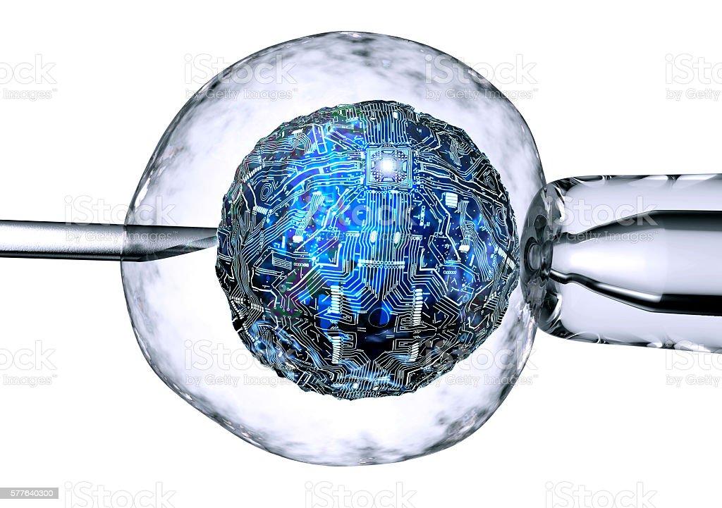 computer cell is in between a pipet and a neeldle - Foto de stock de ADN libre de derechos