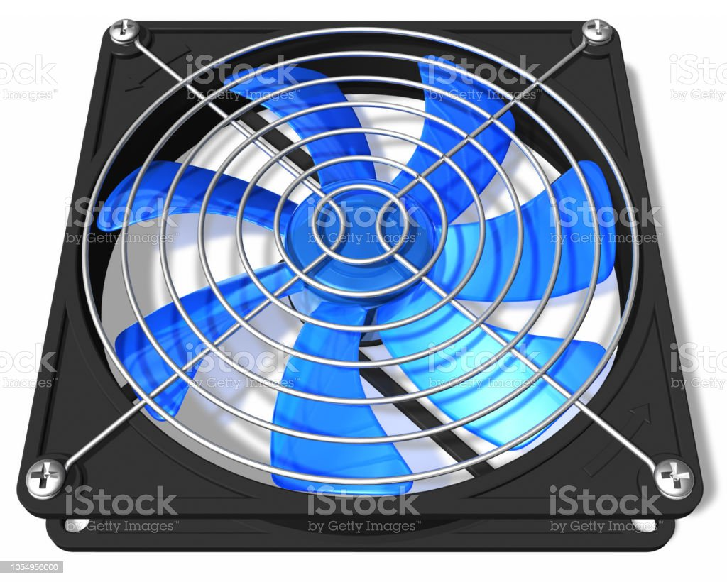Computer chassis and CPU cooler fan stock photo