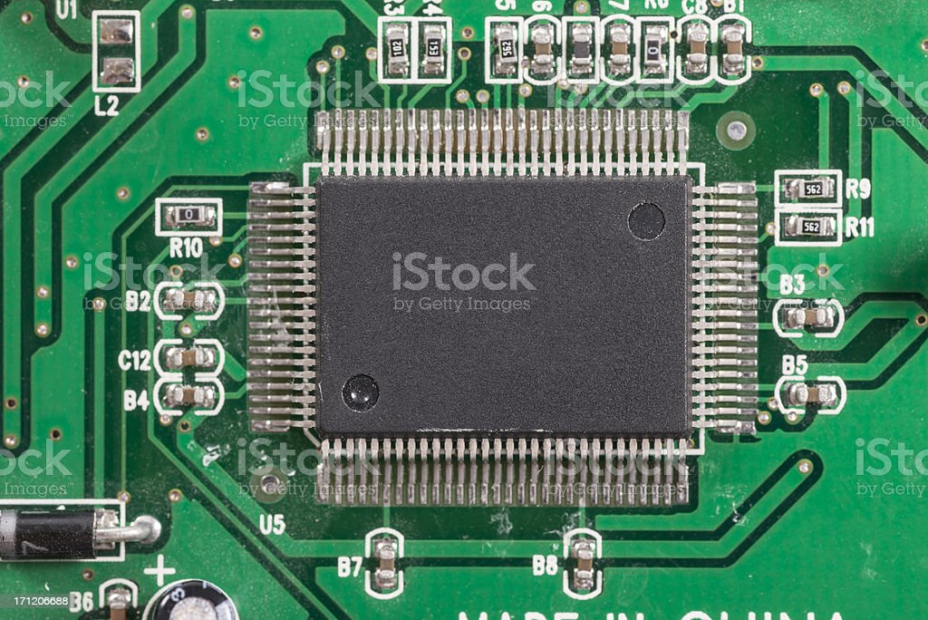 computer chip macro shot from above with copyspace royalty-free stock photo