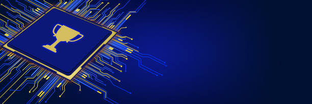 3D Computer chip with trophy shape on blue background stock photo