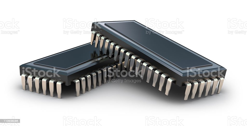Computer chips isolated on white royalty-free stock photo