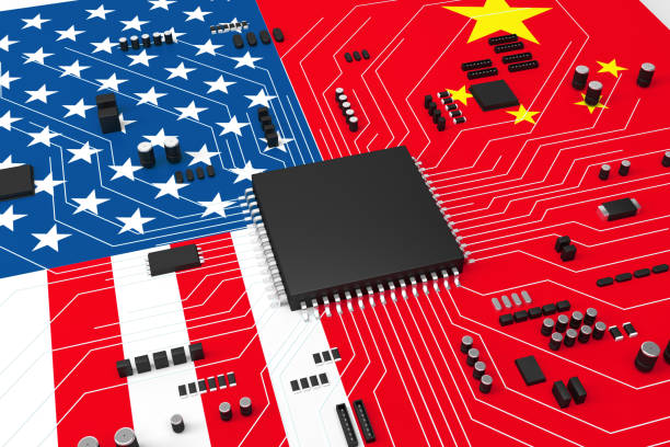 Computer circuit board and AI, competition between China and America stock photo