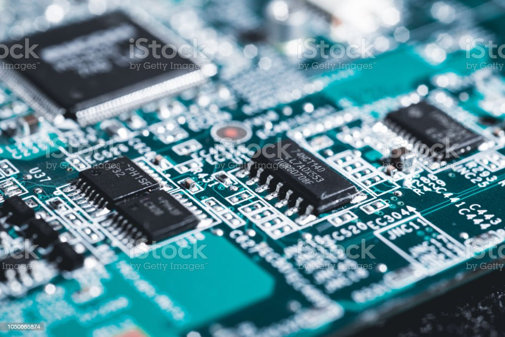 Computer circuit board. High technology. Electric laptop circuit. Computer motherboard. stock photo