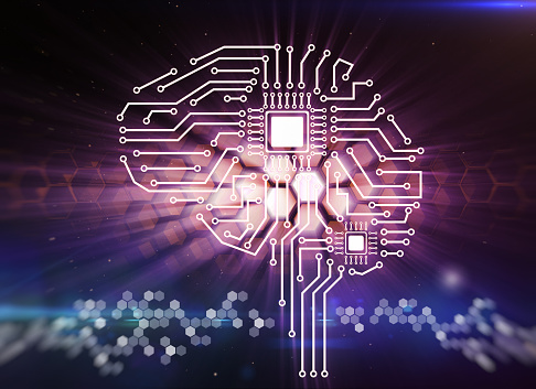 Computer Circuit Board In The Form Of The Human Brain Stock Photo - Download Image Now