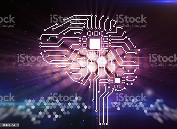 Computer circuit board in the form of the human brain Computer circuit board in the form of the human brain 2015 Stock Photo