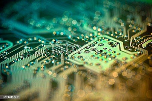 A macro shot of a circuit board. Shallow DOF