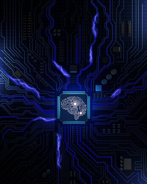 Computer circuit board socket in the form of the human brain stock photo