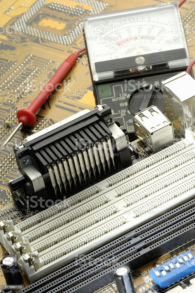Computer circuit board with tester stock photo