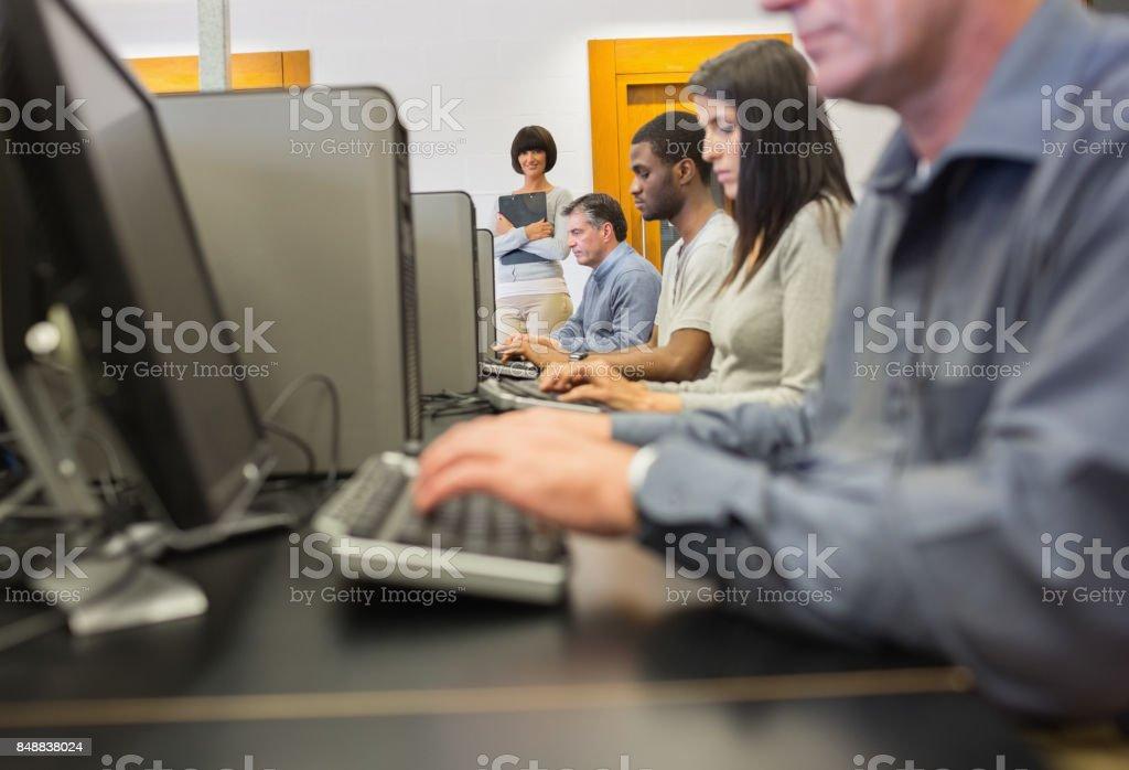 Computer class stock photo
