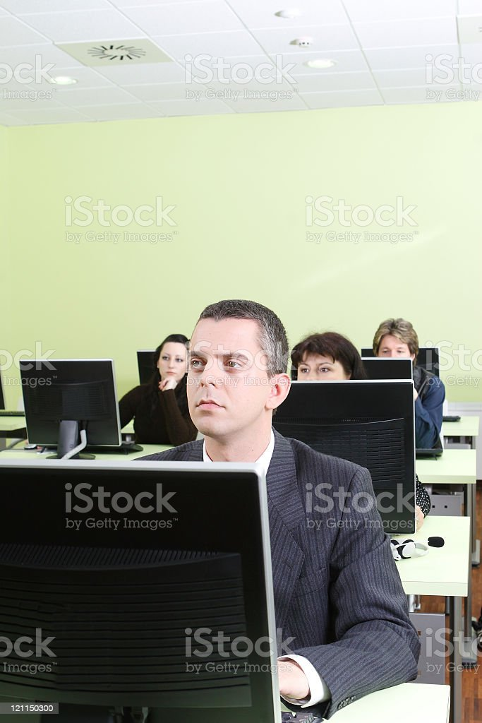 Computer Class with Business Man stock photo