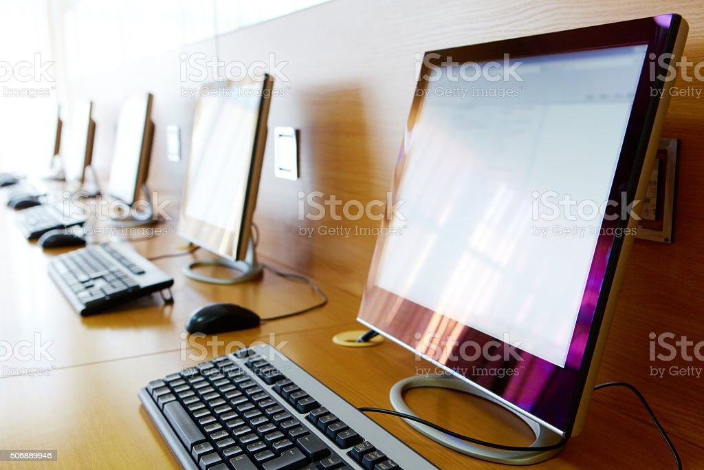 Computer classroom stock photo