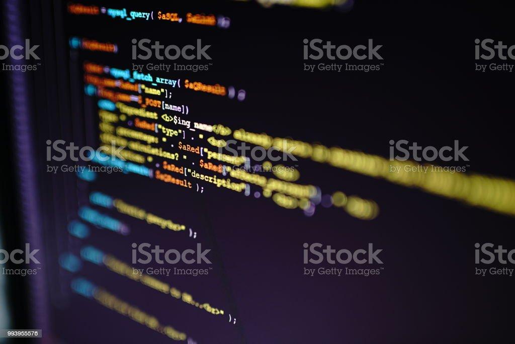 Computer Code On Screen stock photo