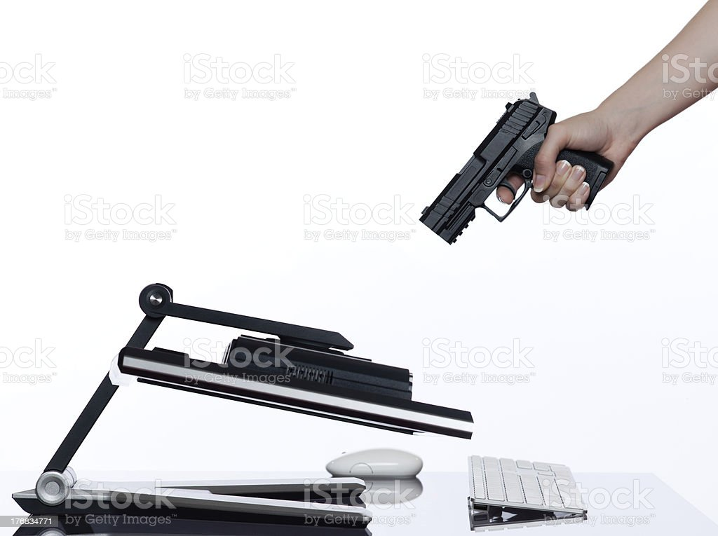 computer communication shutdown concept stock photo