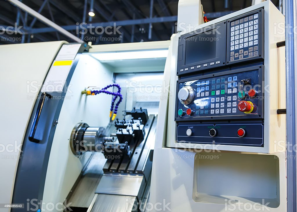 Computer control panel lathe with numerical control stock photo