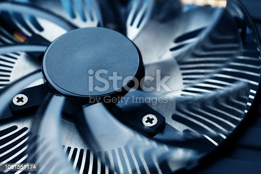 Close up cooler computer fan, electronic computer parts