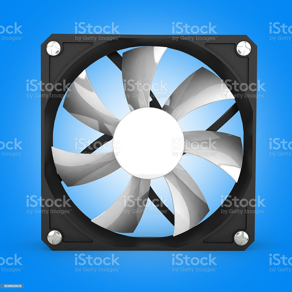computer cooler isolated on blue gradient background 3d illustra stock photo