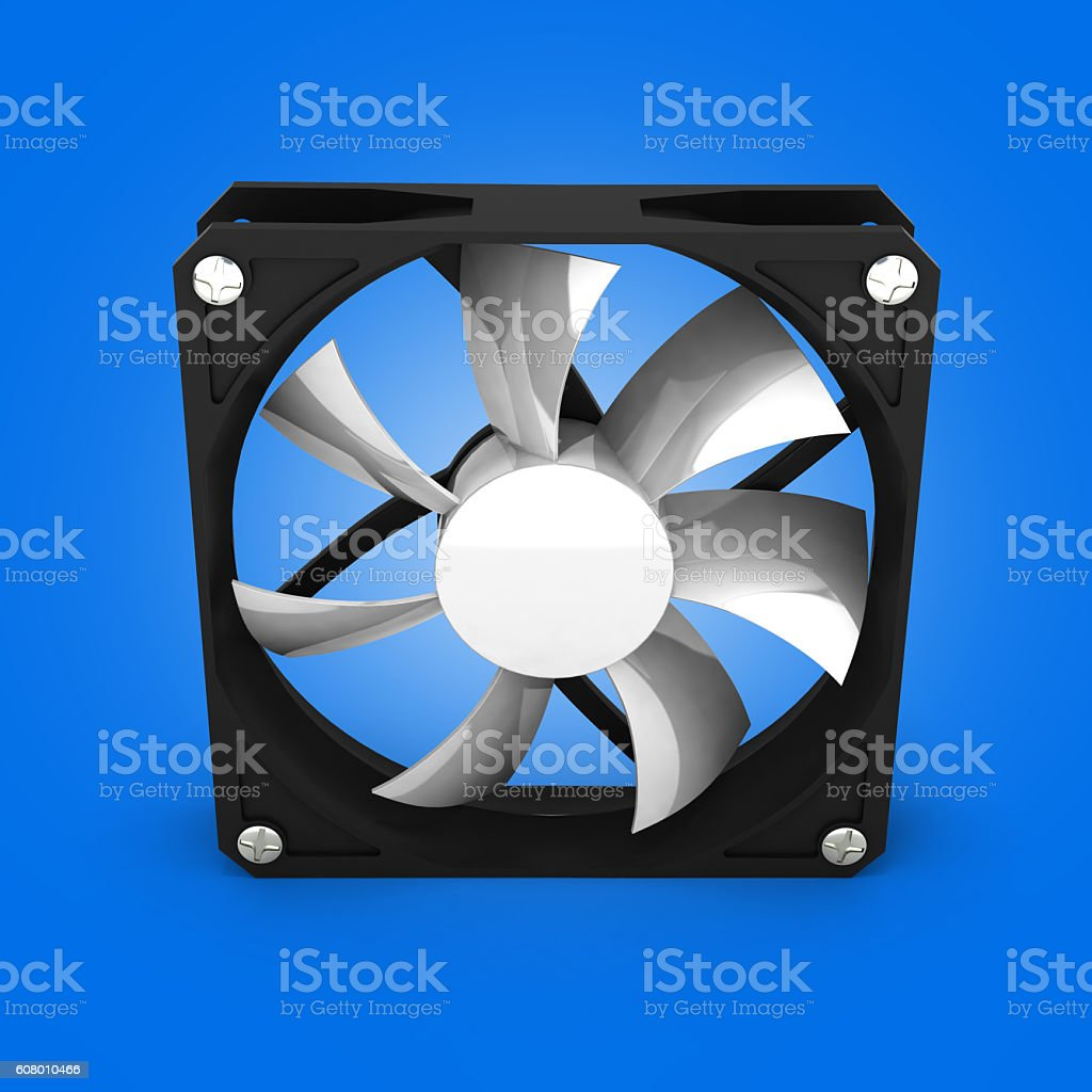 computer cooler isolated on blue gradient background 3d stock photo