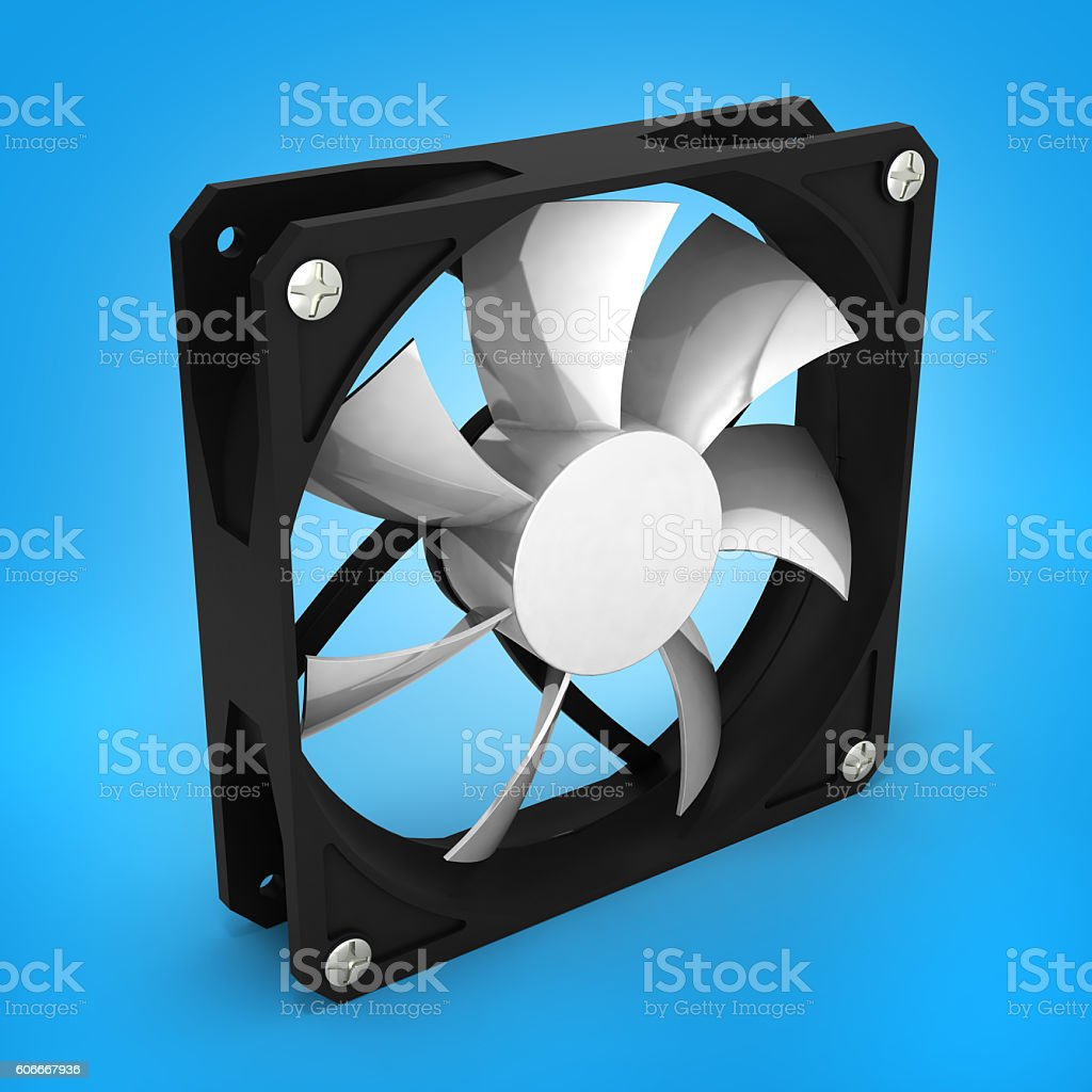 computer cooler isolated on blue gradient background 3d render stock photo