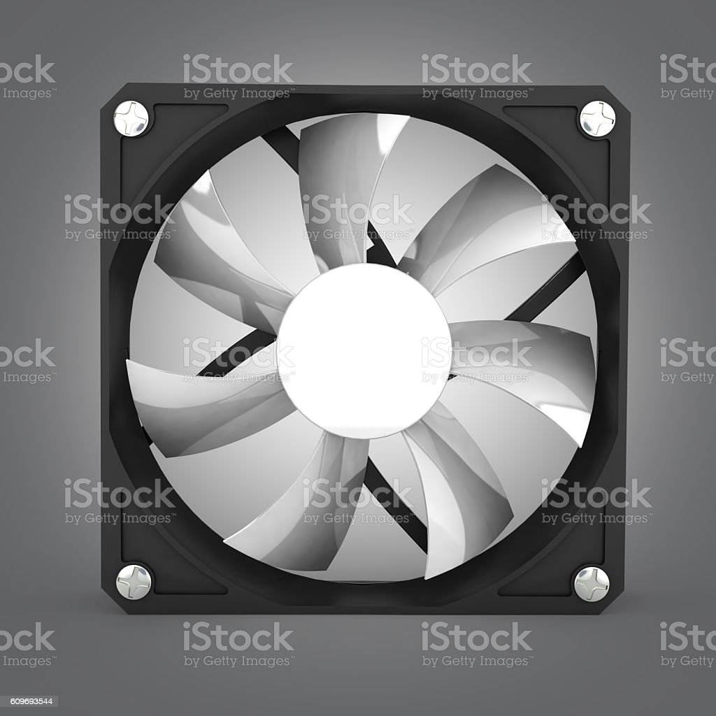 computer cooler isolated on grey gradient background 3d illustra stock photo