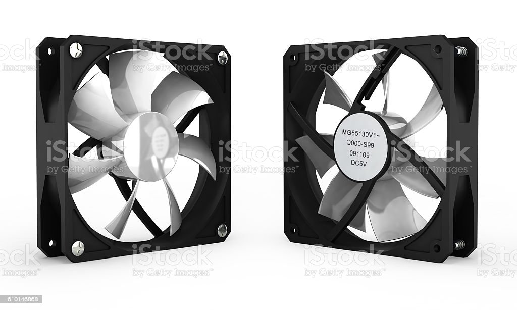 computer cooler isolated on white background 3d stock photo